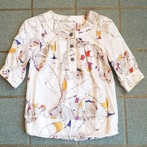 French Connection White Floral Blouson Top